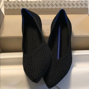 Rothy's black honeycomb pointed flats